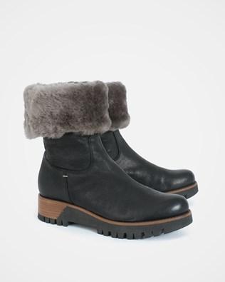 Cuffed Nubuck Boots - Size 40 - Black - 1043
