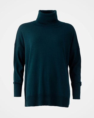 Slouchy Fine Knit Roll Neck - Size Small - Icelandic Blue - 1626