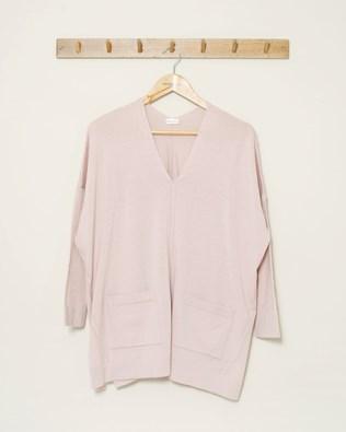 Pocket Detail V Neck - Size Large - Pink - 1066