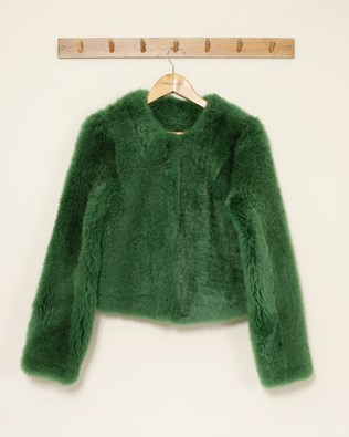 Teddy Collarless Short Jacket - Small - Green - 1118