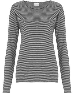 Fine Knit Merino Crew Neck - Medium - Putty Micro Stripe - 1311