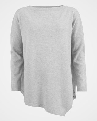 Geelong Asymetric Tunic - Size Large - Pearl Grey - 1548