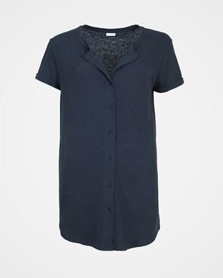 Linen Cotton Button Through Top - Size 10 - Navy - 2125