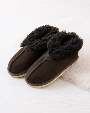 Kids' Sheepskin Bootee Slippers - Mocca - Size 7-8 - 2776