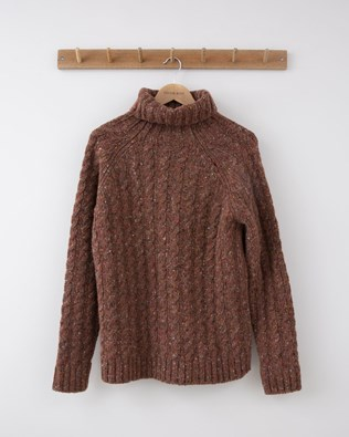 Donegal Cable Roll Neck - Small - Rust - 1248