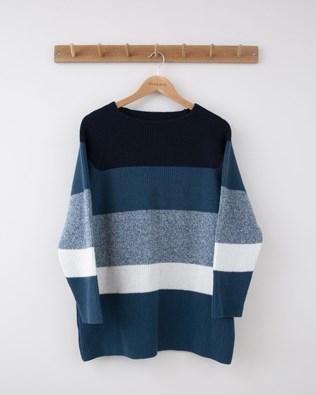 Block Stripe Ribbed Funnel Neck Tunic - Small - Navy & Icelandic Blue - 1249