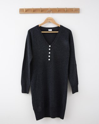 Henley Dress - Small - Charcoal - 1283