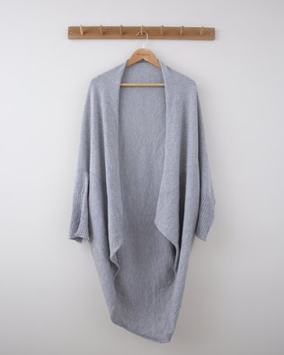 Melange Drape Cardigan - Small - Silver Grey Melange - 1289