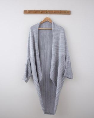 Space Dye Drape Cardigan - Small - Grey - 1290