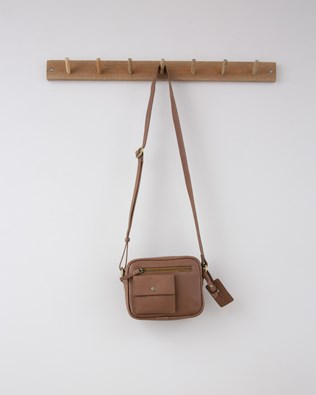 Small Zip up Cross Body Bag - 19cm x 16cm - Nut - 1297