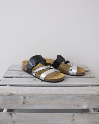 Small Wedge Triple Strap Sandal - Size 37 - Black, Snake & Silver - 1315