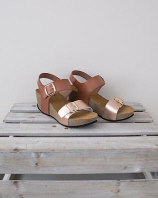 High Wedge Sandal - Size 37 - Terracotta & Rose Gold - 1321