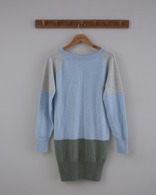 Supersoft Slouch Dress - Small - Blue Sage Colourblock - 1389