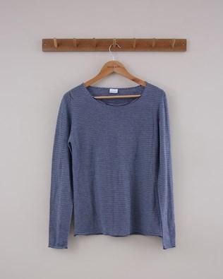Fine Knit Merino Crew Jumper - Small - Indigo & Vintage Blue Stripe - 1409