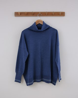 Slouchy Merino Roll Neck - Small - Blue Tipped - 1421