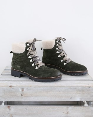 Leather Hiker Boot lined with sheepskin cuff - Size 37 - Olive - 1456