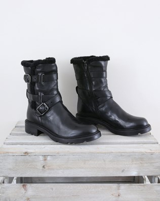 Biker Boot with Sheepskin Trim - Size 37 - Black - 1463