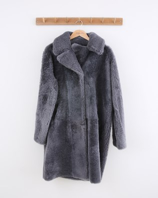 Reversible Cocoon Teddy Coat - Size 10 - Grey - 1490