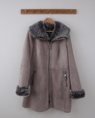 Zip up Toscana Trim Sheepskin Coat - Size 16 - Grey - 1500