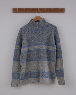 Flecked Funnel Neck - Size Small - Grey & Blue Stripe - 1505