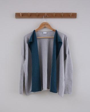 Fine Knit Merino Cardigan - Size Small - Grey / Teal - 1518