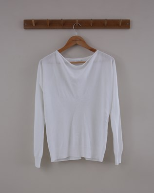 Soft Cowl Jumper - Size Small - White - 1535