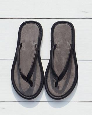 Nubuck And Suede Flip Flops - Black - Size 7 - 2476