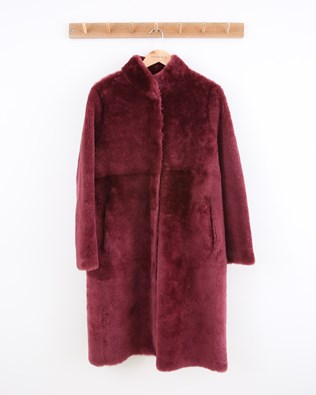 Stand Collar Reversible Sheepskin Coat - Size Small - Claret - 1551