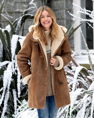 Shearling Duffle Coat for Women