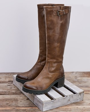Biker Knee Boots - Antique Brown - Size 38 - 2769