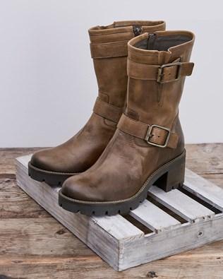Block Heel Biker Boot - Antique Brown - Size 40 - 2740