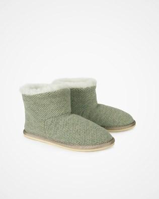 Knitted Shortie Slipper - Sage - Size 5 - 2477