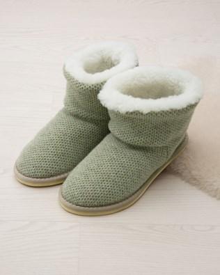 Knitted Shortie Slipper - Sage - Size 6 - 2479