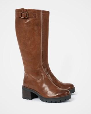 Biker Knee Boots - Antique Brown - Size 40 - 2719