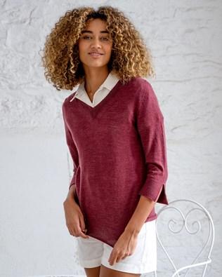 Fine Knit Merino V Neck Sweater