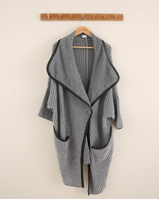 Leather Trim Merino Cardigan - Size Large - Grey/White - 1804