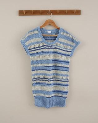 Sleeveless Knitted Tunic - Size Small - Blue/Grey Stripe - 1858