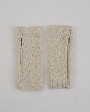 Aran Fingerless Mitts - One Size - Oatmeal - 1975