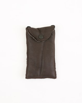 Suede and Sheepskin glasses case with string - One Size - Hurricane - 1985