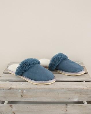 Ladies Sheepskin Turnback Mules - Size 6 - Icelandic Blue - 2000