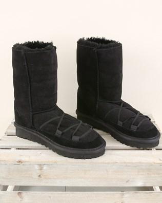 Lacing Detail Sheepskin Boot Reg - Size 6 - Black - 2002