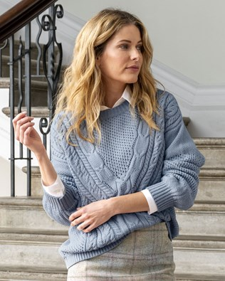 V Yoke Cable Sweater