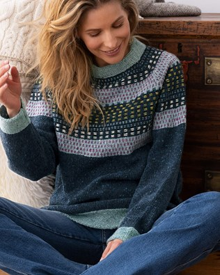 Float Stitch Yoke Donegal Sweater
