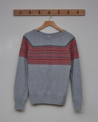 Supersoft Crew Neck Jumper - Size Small - Fossil, Pillarbox Red Fairisle - 2353