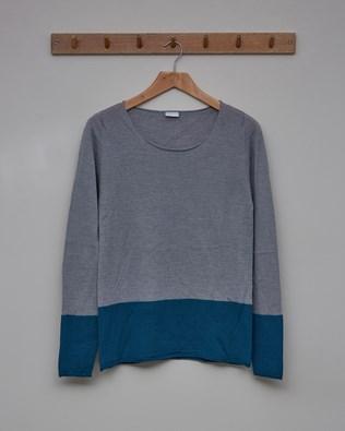 Fine Knit Merino Crew Neck Jumper - Size Small - Blue Colourblock - 2357