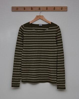 Fine Knit Merino Crew Neck Jumper - Size Small - Olive, Camel stripe - 2360