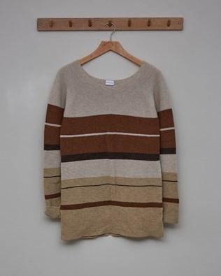 Yoke Detail Tunic - Size Small - Oatmeal, Autumn Brown, Camel - 2451