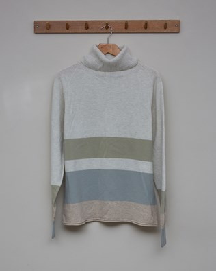 Geelong Slouch Roll Neck - Size Small - Pearl Grey, Mineral - 2453
