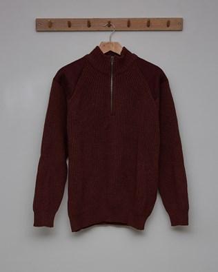 Men's Half Zip Jumper - Size Large - Rust - 2455