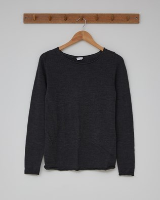 Fine Knit Merino Crew Neck - Size Extra Small - Charcoal - 2372